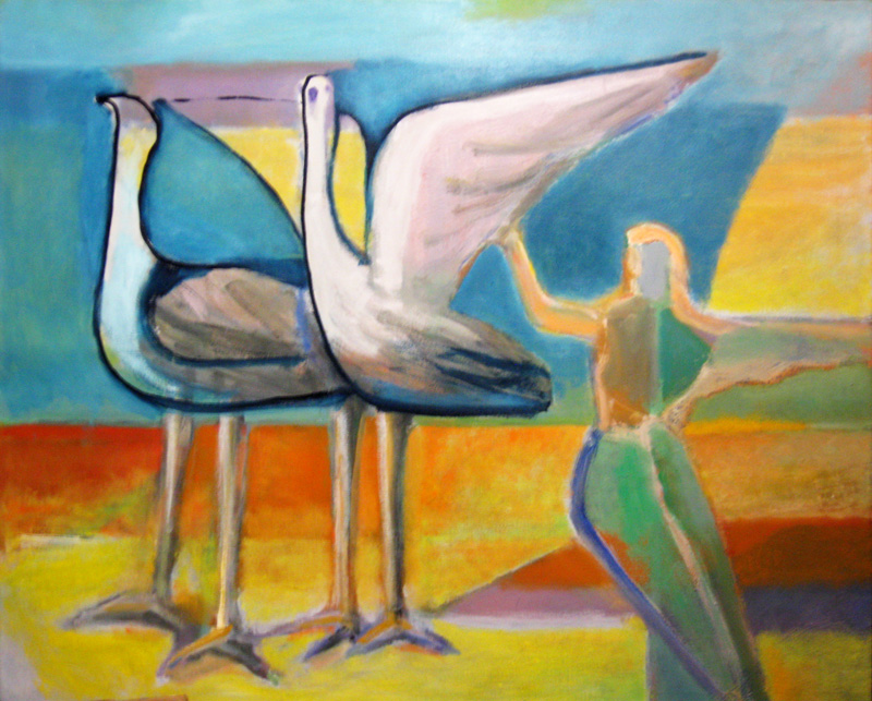 Cranes (Oil, abstracts figures animals) - Fine Art by Donald G. Vogl, Fort Collins, Colorado