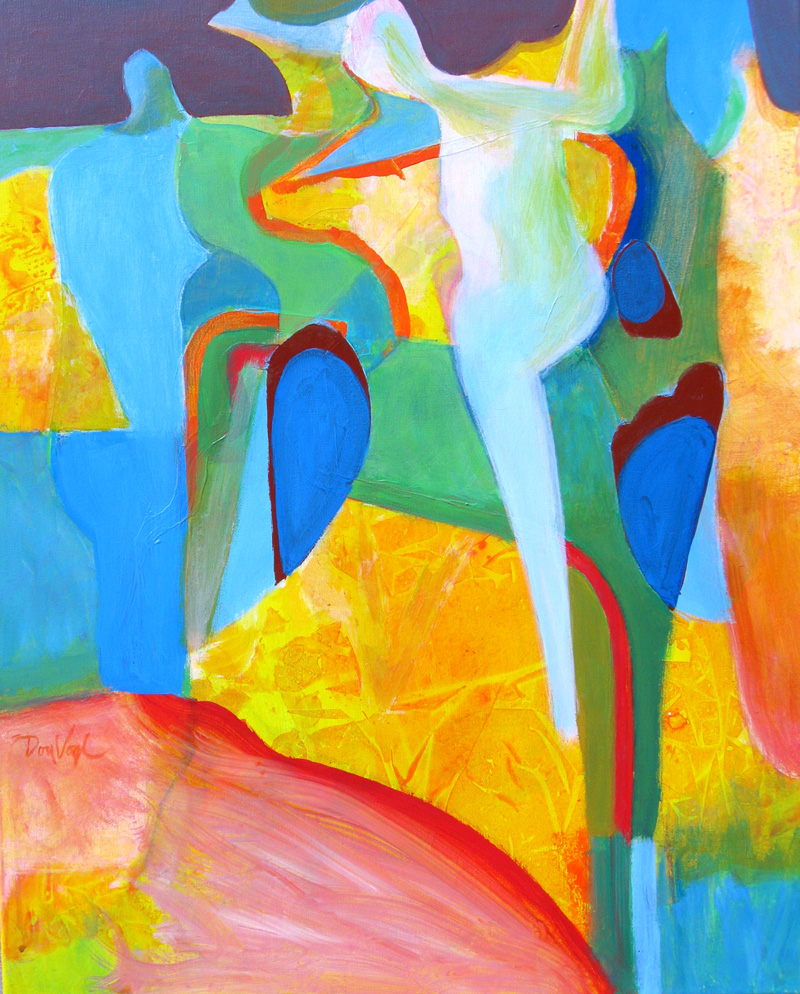 Dance Floor (Acrylic, abstracts figures) - Fine Art by Donald G. Vogl, Fort Collins, Colorado