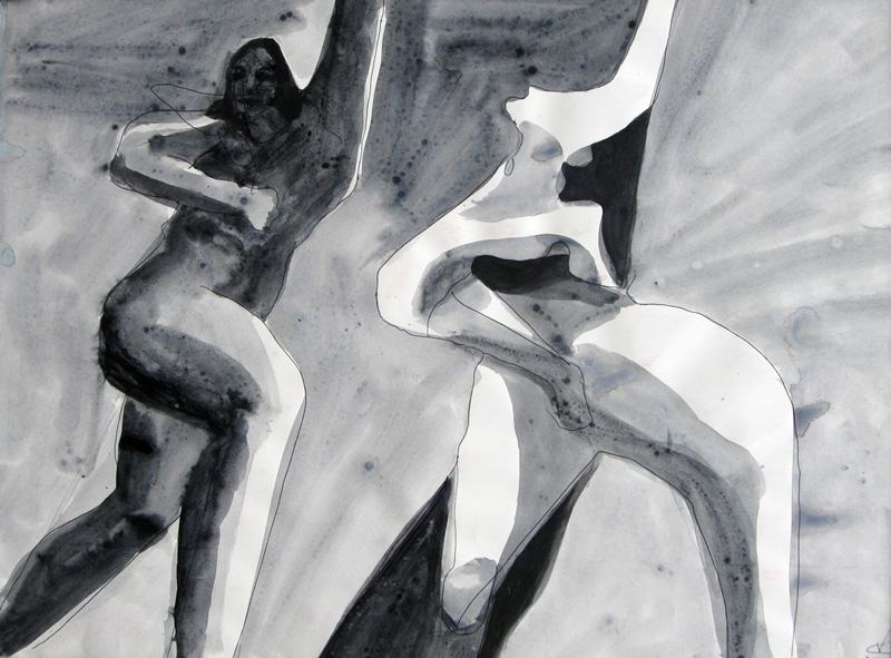Dance Steps (Watercolor, abstracts figures monochromes) - Fine Art by Donald G. Vogl, Fort Collins, Colorado