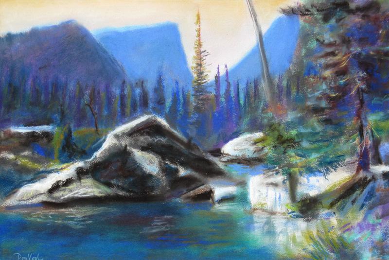 Dream LakeColorado (Pastel, landscapes) - Fine Art by Donald G. Vogl, Fort Collins, Colorado