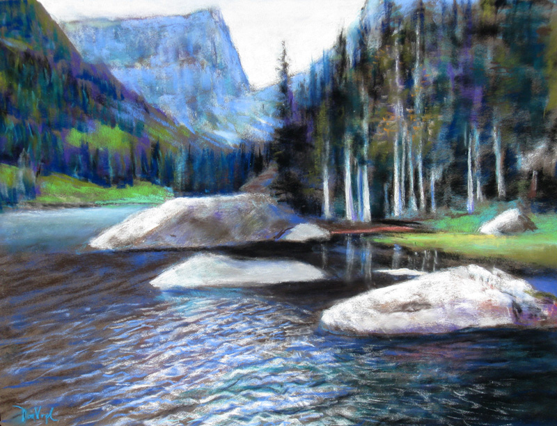 Dream LakeRocky Mountain National Park, Colorado (Pastel, landscapes) - Fine Art by Donald G. Vogl, Fort Collins, Colorado