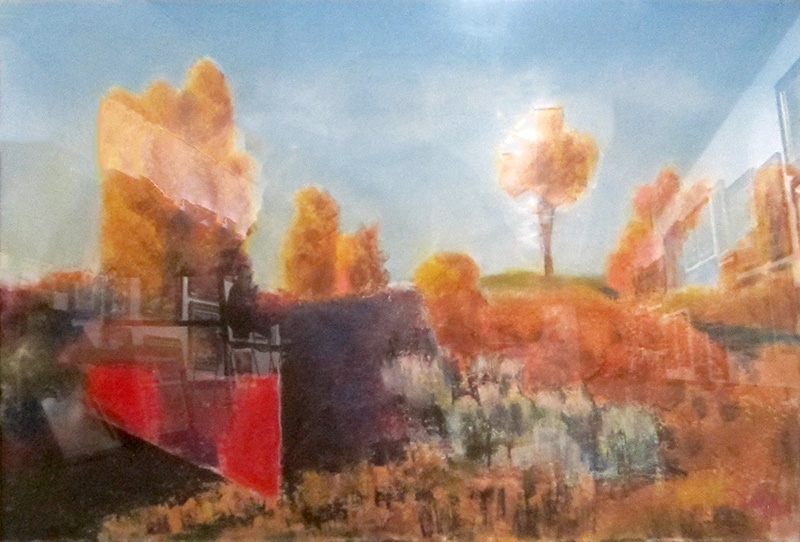 Festive Color (Red Fence)Colorado (Pastel, landscapes) - Fine Art by Donald G. Vogl, Fort Collins, Colorado