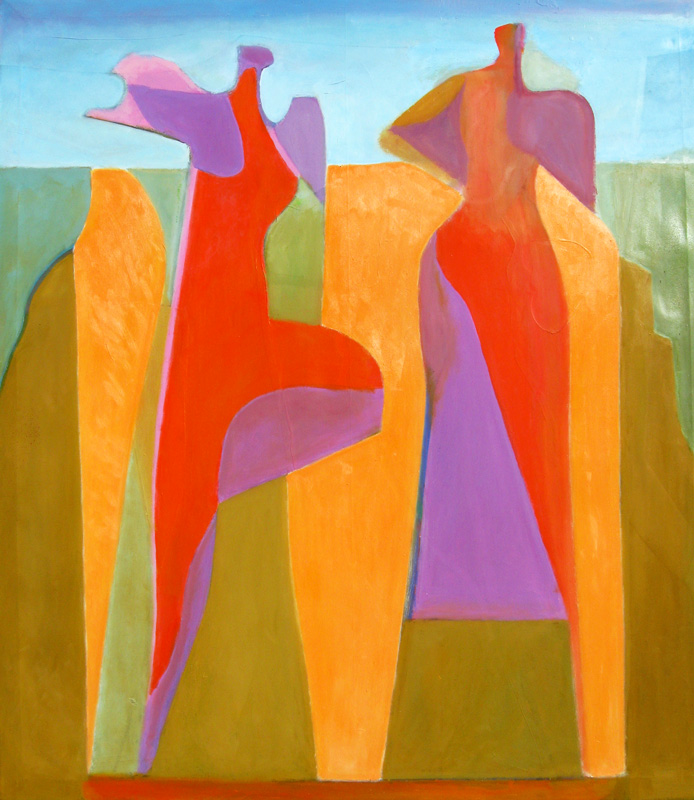 One Foot Off the Ground (Oil, abstracts figures) - Fine Art by Donald G. Vogl, Fort Collins, Colorado