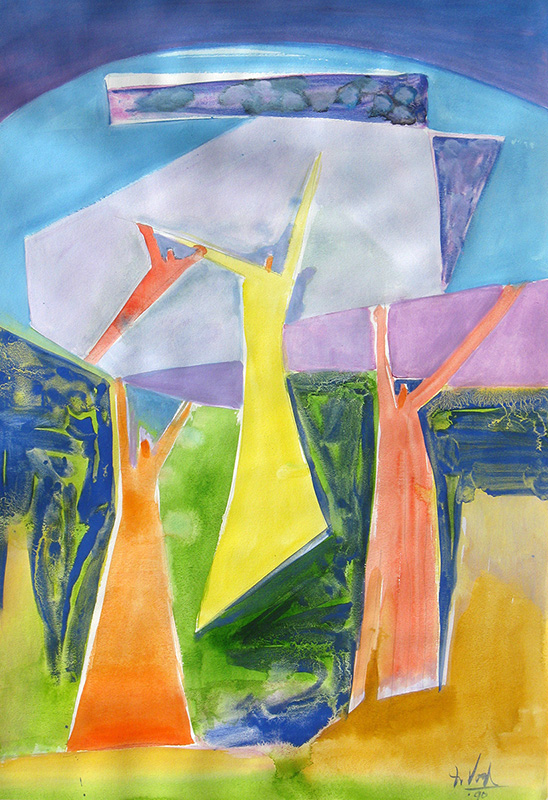 Halleluia (Watercolor, abstracts figures christian) - Fine Art by Donald G. Vogl, Fort Collins, Colorado