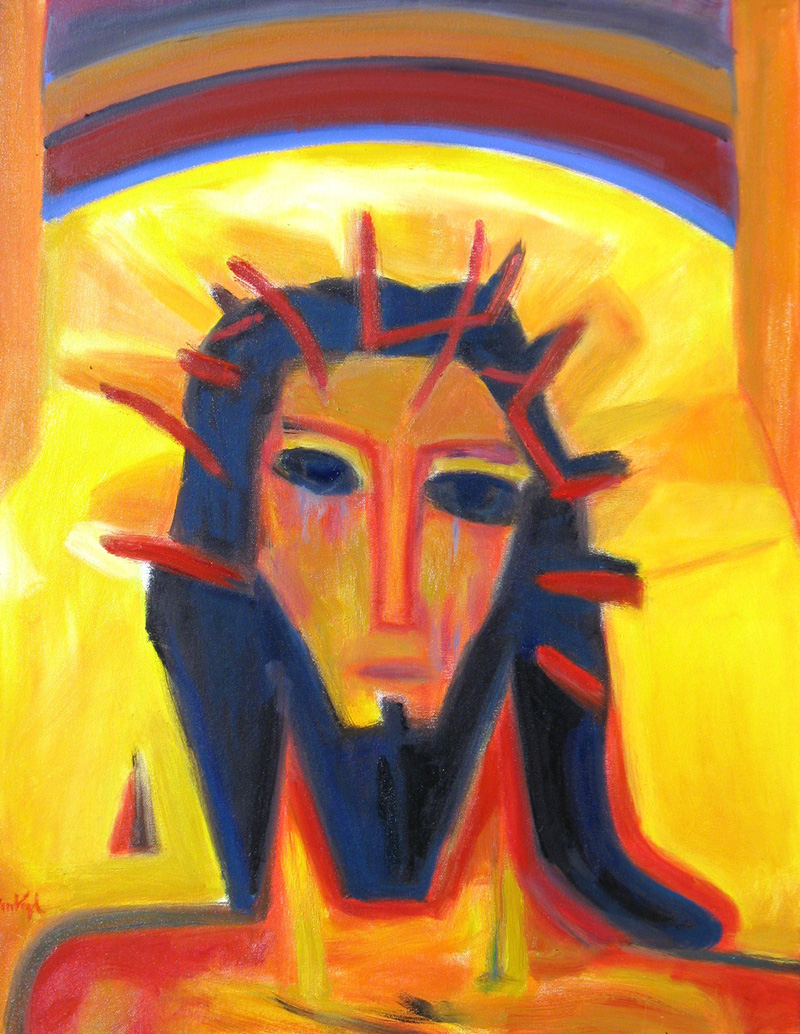 Head of Christ (Acrylic, portraits christian) - Fine Art by Donald G. Vogl, Fort Collins, Colorado