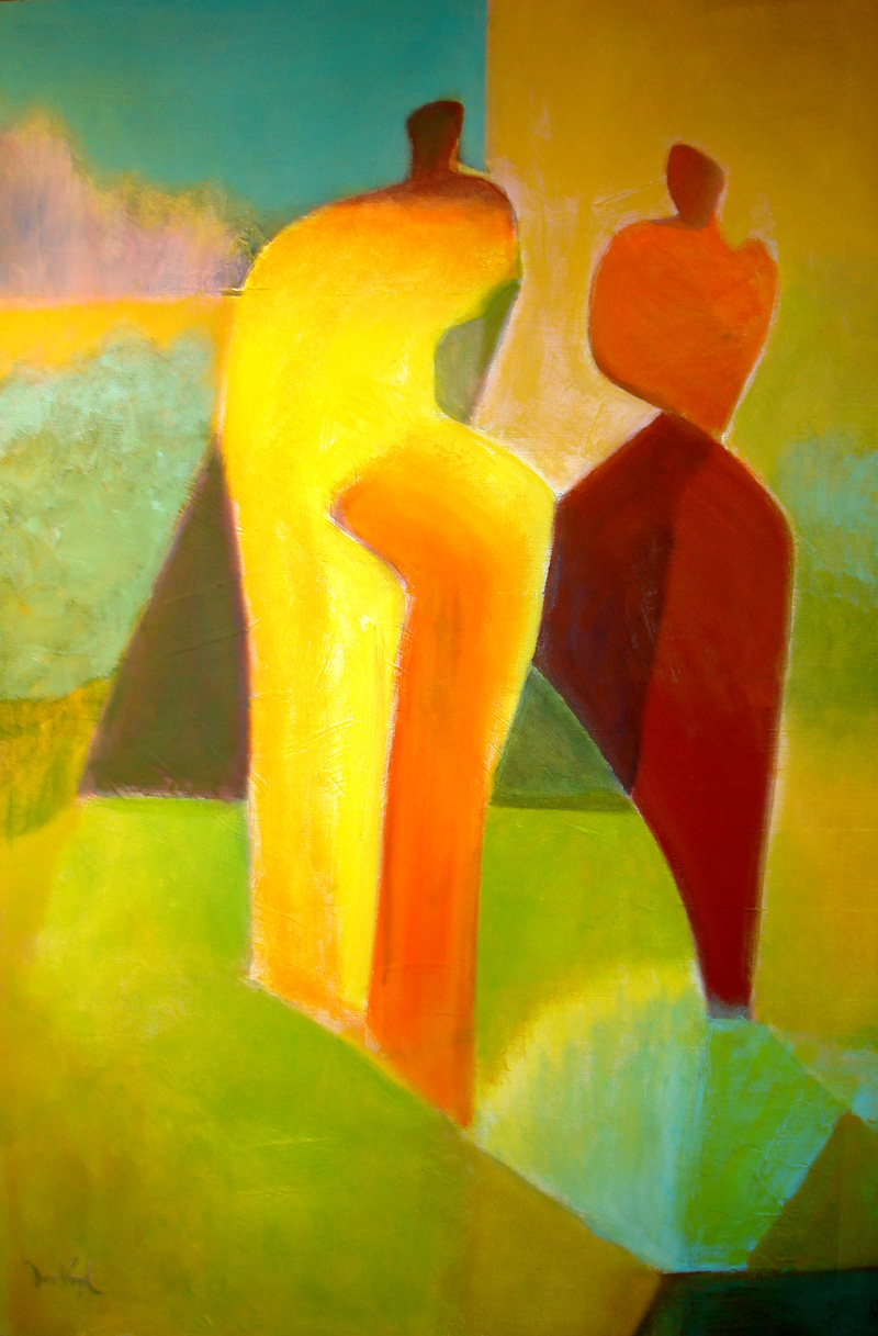 Don't Cast a Heavy Shadow (Oil, abstracts figures) - Fine Art by Donald G. Vogl, Fort Collins, Colorado