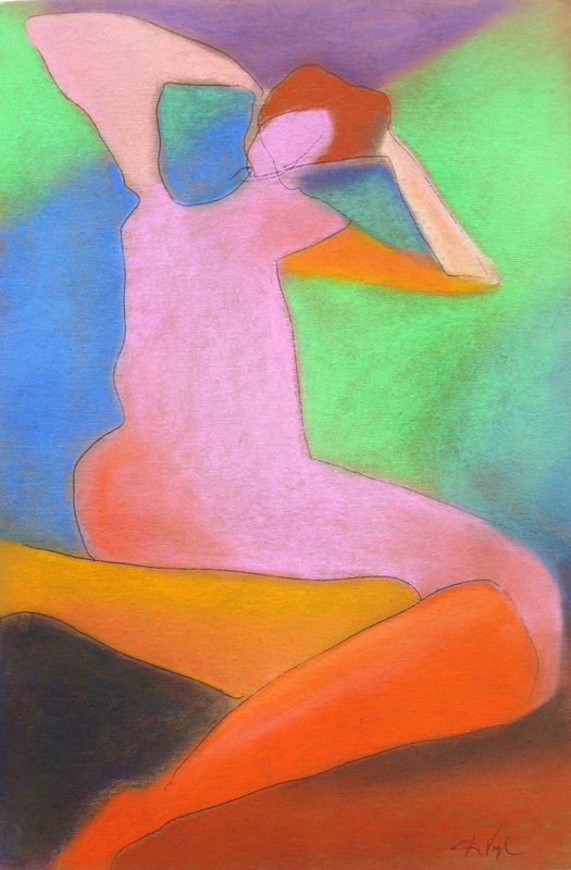 The Importance of the Elbow (Pastel, figures abstracts) - Fine Art by Donald G. Vogl, Fort Collins, Colorado