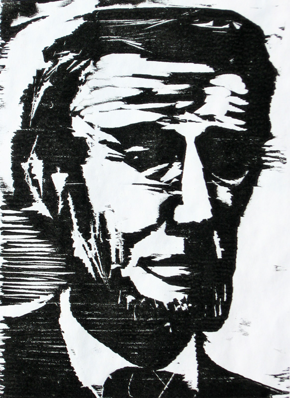 Lincoln (Woodcut, portraits) - Fine Art by Donald G. Vogl, Fort Collins, Colorado