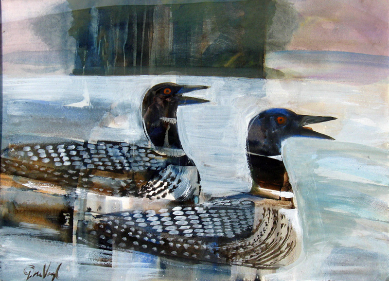 LoonsWisconsin (Acrylic, figures animals) - Fine Art by Donald G. Vogl, Fort Collins, Colorado