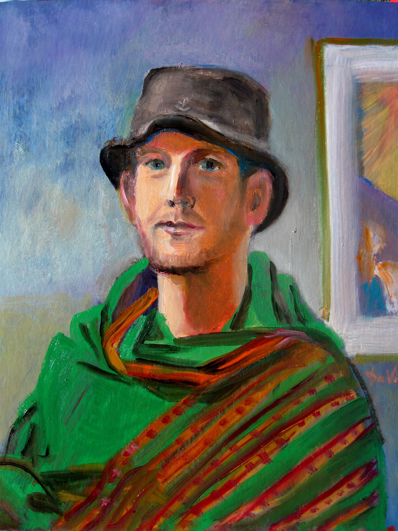 Man (Green) (Oil, portraits) - Fine Art by Donald G. Vogl, Fort Collins, Colorado