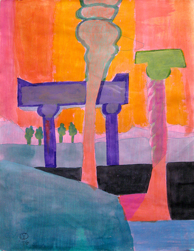 Memorial (Watercolor and Acrylic, abstracts) - Fine Art by Donald G. Vogl, Fort Collins, Colorado