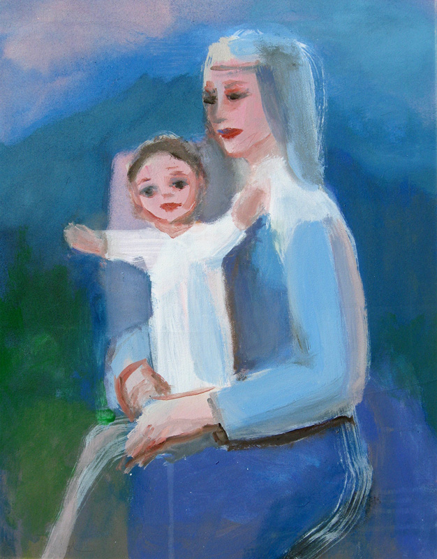 Mother and Child (Acrylic, christian portraits) - Fine Art by Donald G. Vogl, Fort Collins, Colorado