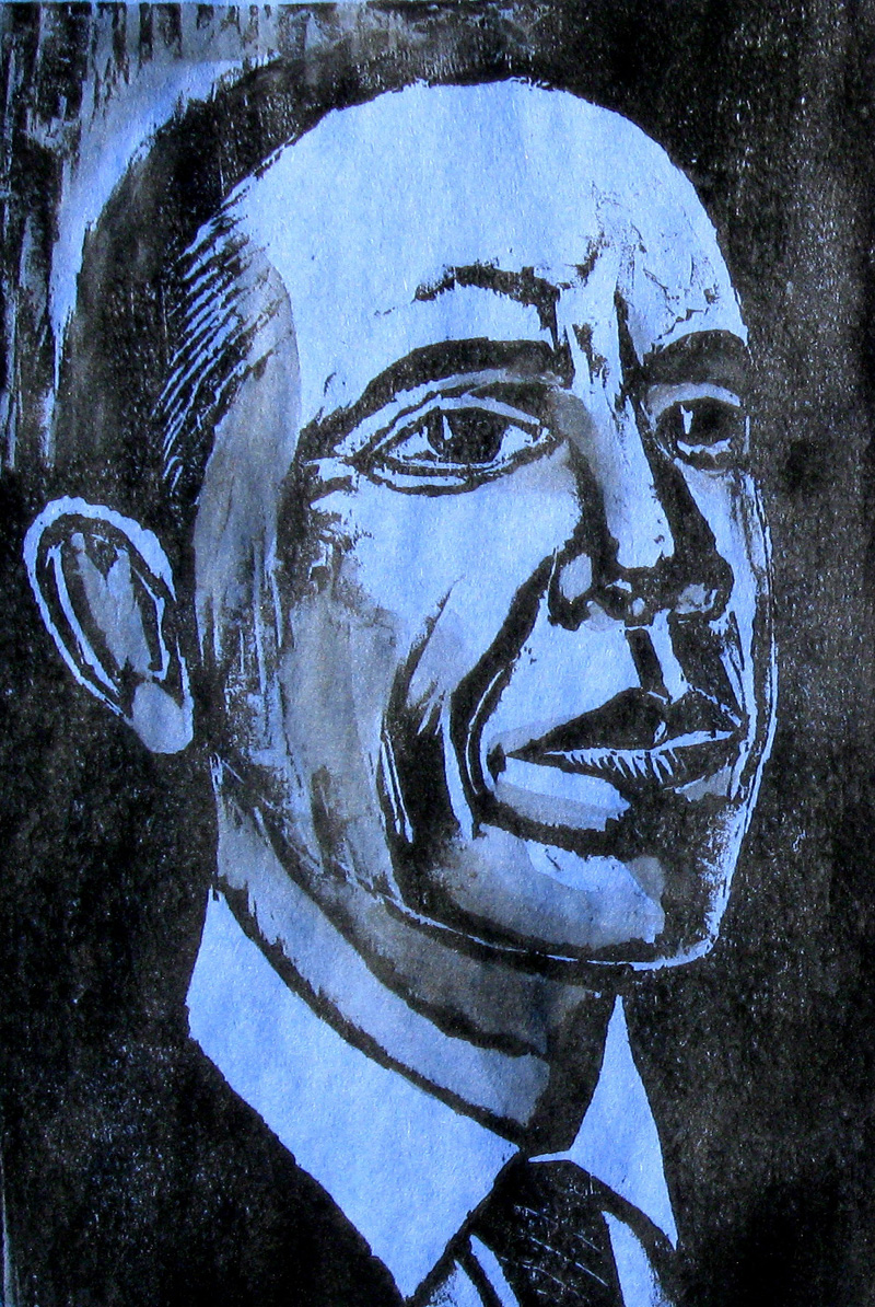 Obama (Blue) (Woodcut, portraits) - Fine Art by Donald G. Vogl, Fort Collins, Colorado