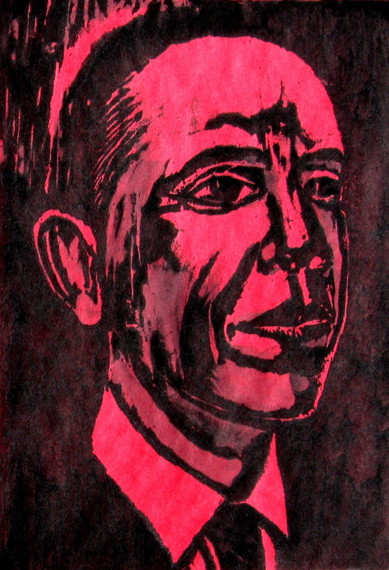 Obama (Red) (Woodcut, portraits) - Fine Art by Donald G. Vogl, Fort Collins, Colorado