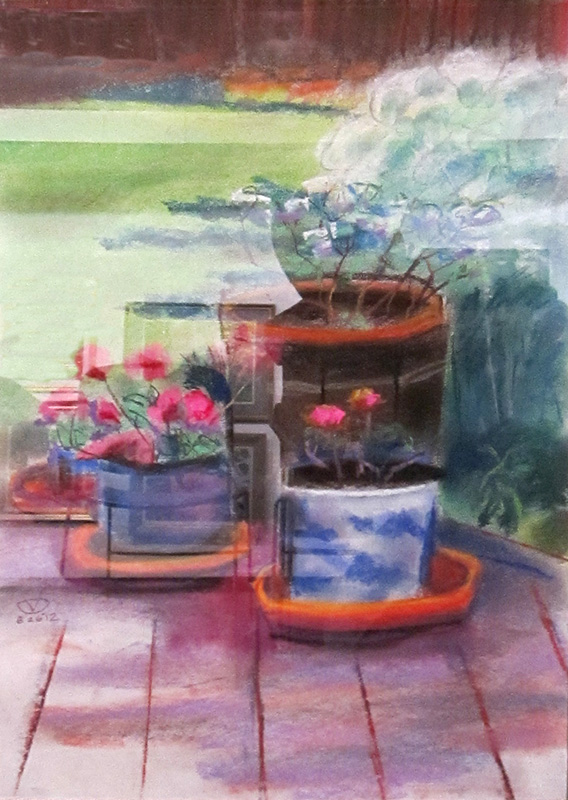 On the Patio (Pastel, still-lifes) - Fine Art by Donald G. Vogl, Fort Collins, Colorado