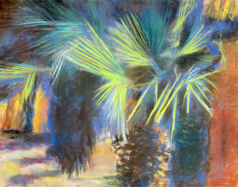 Palm Trees (Pastel, landscape) - Fine Art by Donald G. Vogl, Fort Collins, Colorado