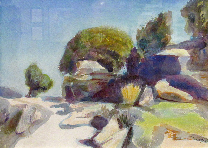 Path, Rocks, BushColorado (Watercolor and Pastel, landscapes) - Fine Art by Donald G. Vogl, Fort Collins, Colorado