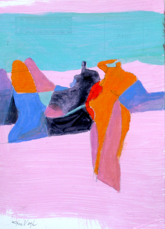 Pink Beach (Acrylic and Ink, abstracts figures) - Fine Art by Donald G. Vogl, Fort Collins, Colorado