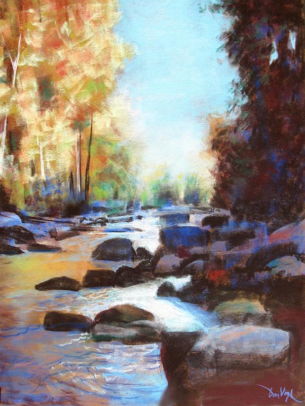 ReflectionsOak Creek Canyon, Arizona (Pastel, landscapes) - Fine Art by Donald G. Vogl, Fort Collins, Colorado