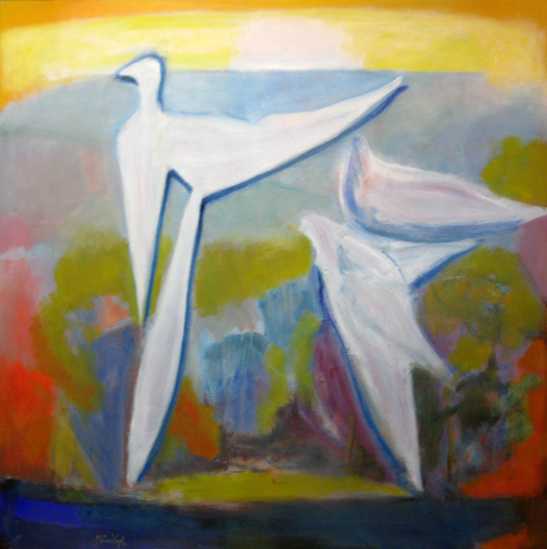 Road Runner (Oil, abstracts figures animals) - Fine Art by Donald G. Vogl, Fort Collins, Colorado