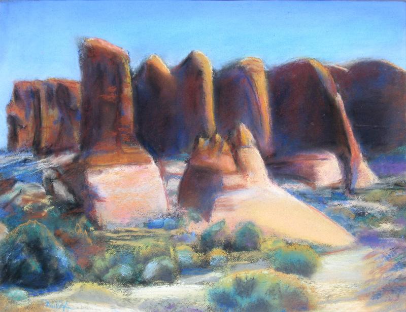 Rock Cliffs, ArchesArches National Park, Utah (Pastel, landscapes) - Fine Art by Donald G. Vogl, Fort Collins, Colorado