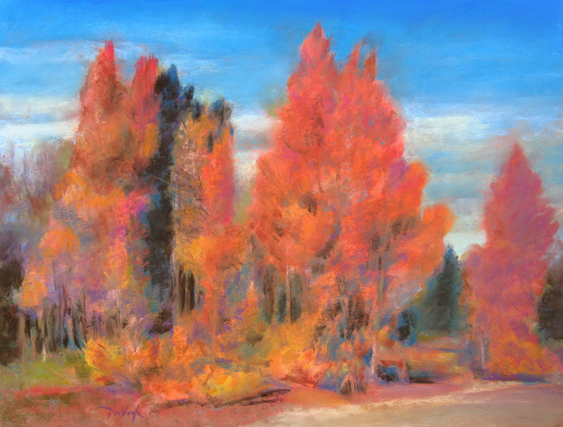 Scarlet StandWest of Leadville, Colorado (Pastel, landscapes) - Fine Art by Donald G. Vogl, Fort Collins, Colorado