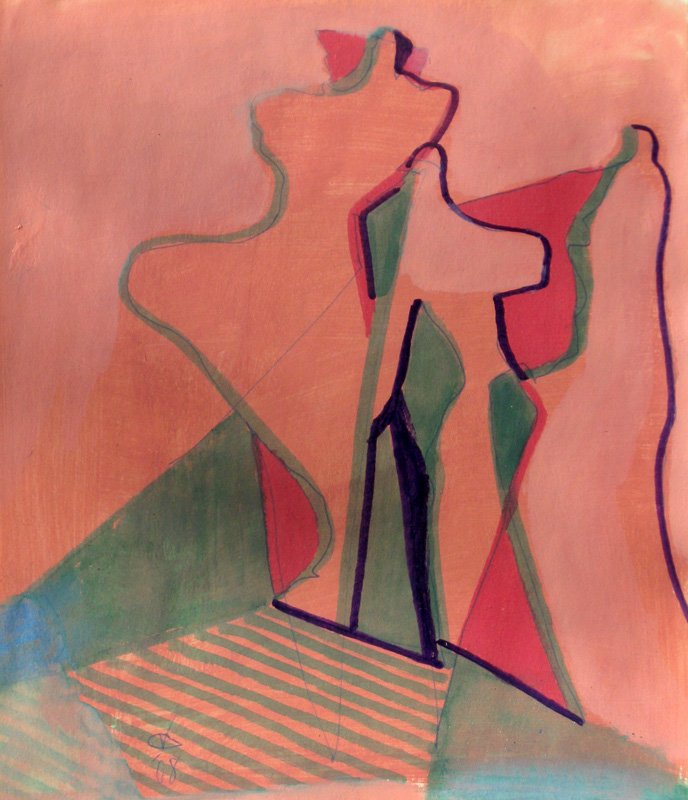 Searching (Acrylic and Marker, abstracts figures) - Fine Art by Donald G. Vogl, Fort Collins, Colorado