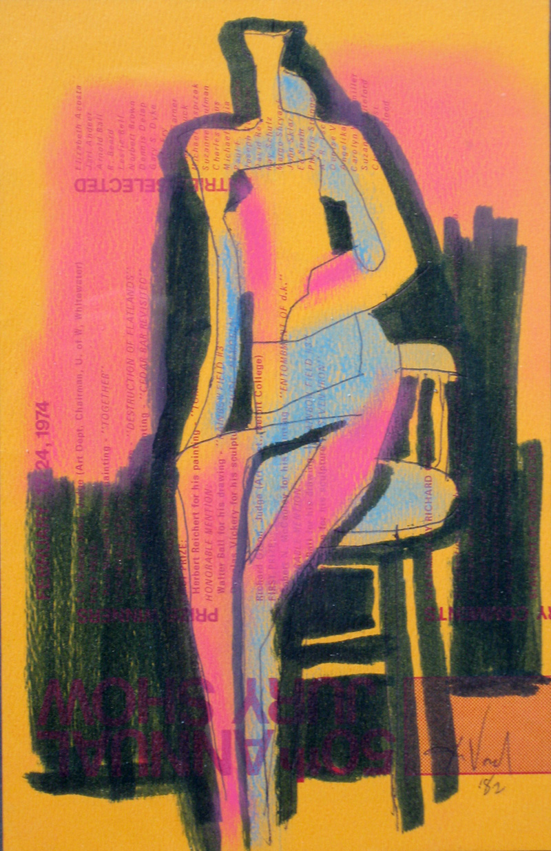 Sitting Down (Pastel, abstracts figures) - Fine Art by Donald G. Vogl, Fort Collins, Colorado