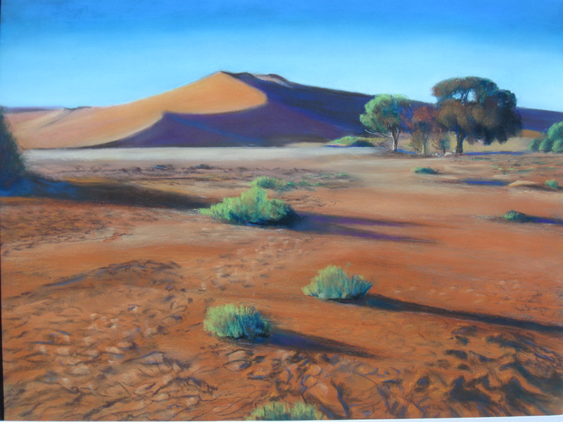 SossusvleiNamibia (Pastel, landscapes) - Fine Art by Donald G. Vogl, Fort Collins, Colorado