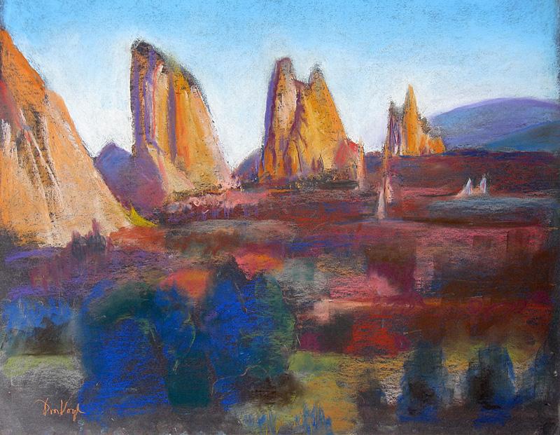 South View, Garden of the GodsColorado Springs, Colorado (Pastel, landscapes) - Fine Art by Donald G. Vogl, Fort Collins, Colorado