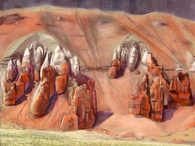 SpiresGoblin Park, Utah (Pastel, landscapes) - Fine Art by Donald G. Vogl, Fort Collins, Colorado