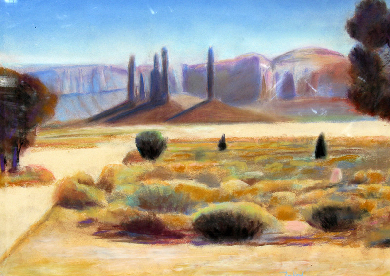 SpiresMonument Valley, Arizona (Pastel, landscapes) - Fine Art by Donald G. Vogl, Fort Collins, Colorado