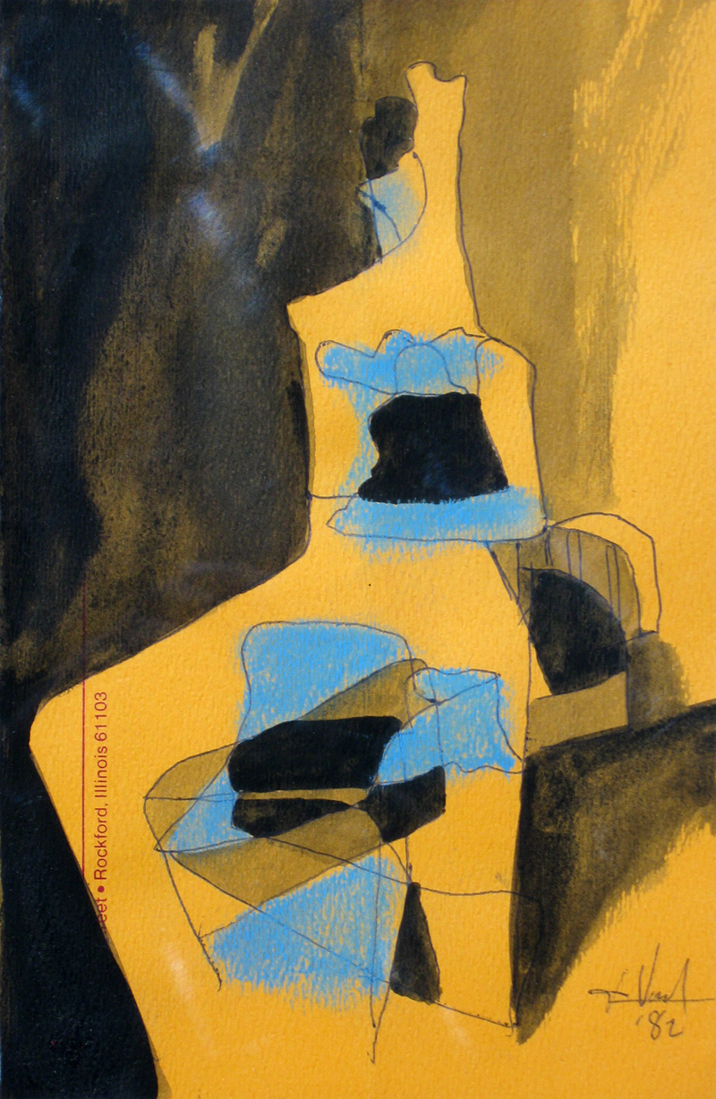 Stature (Pastel, abstracts figures) - Fine Art by Donald G. Vogl, Fort Collins, Colorado