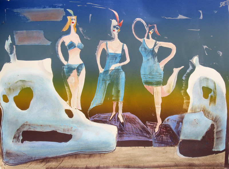 Three Graces (Hand Colored Lithograph, abstracts figures) - Fine Art by Donald G. Vogl, Fort Collins, Colorado