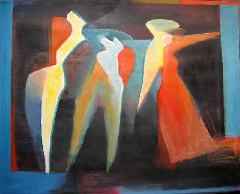 Three Poses (Oil, abstracts figures) - Fine Art by Donald G. Vogl, Fort Collins, Colorado