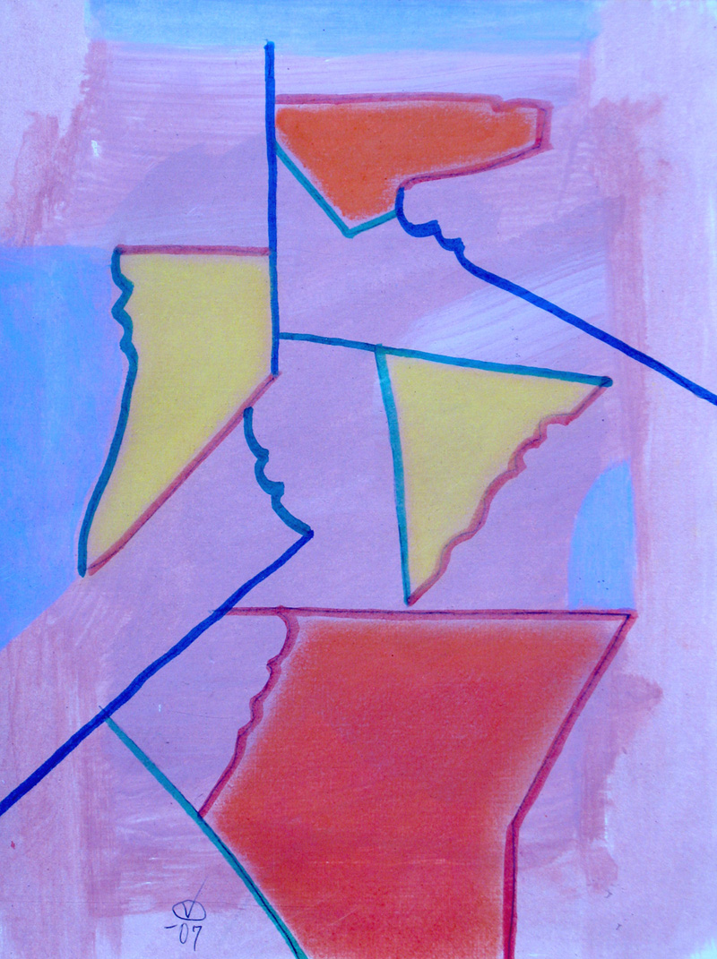 Totem (Acrylic and Markers, abstracts) - Fine Art by Donald G. Vogl, Fort Collins, Colorado