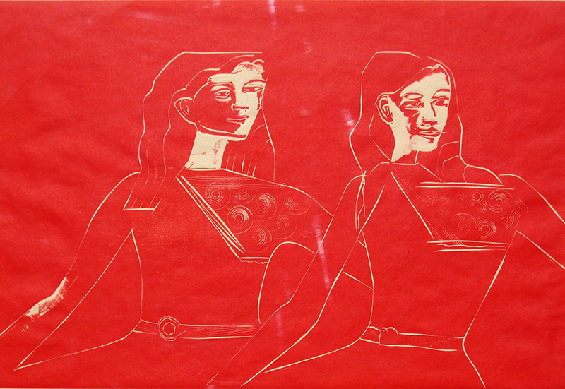 Twins (Woodcut Print, figures) - Fine Art by Donald G. Vogl, Fort Collins, Colorado