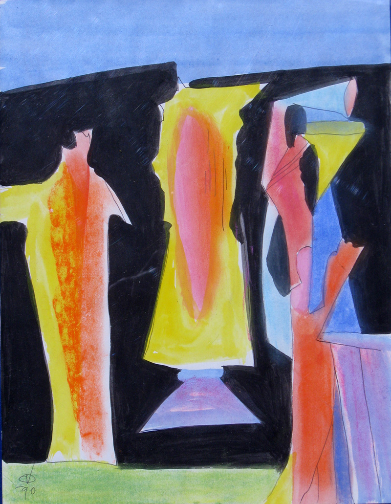 Two Chess Pieces (Acrylic, abstracts figures) - Fine Art by Donald G. Vogl, Fort Collins, Colorado