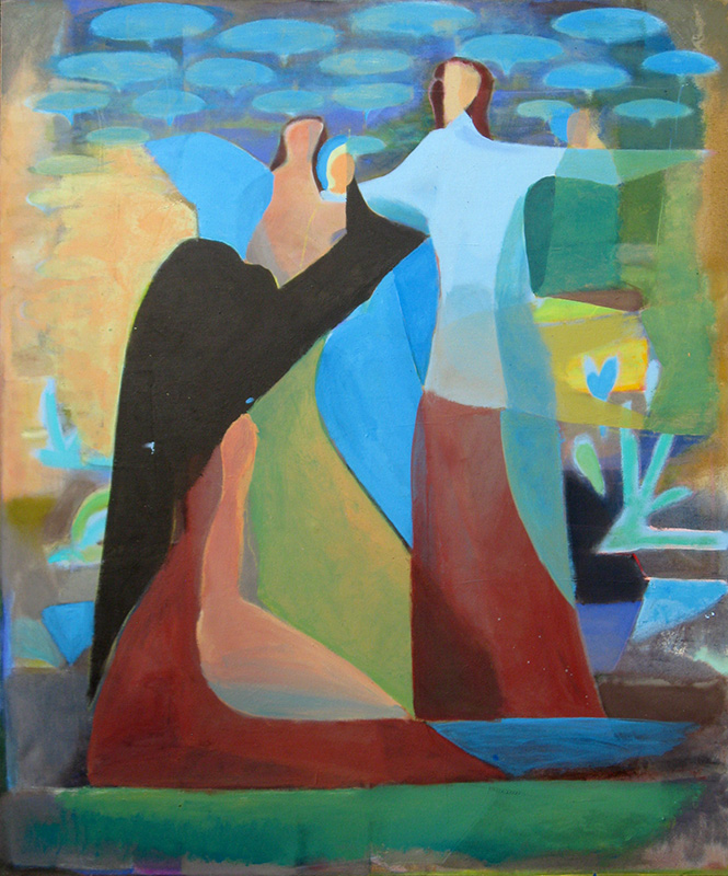 The Visit (Acrylic, abstracts figures) - Fine Art by Donald G. Vogl, Fort Collins, Colorado