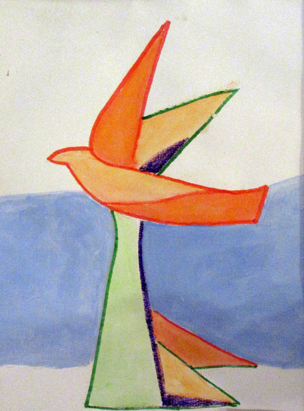 Wings to Fly (Acrylic and Markers, abstracts figures animals) - Fine Art by Donald G. Vogl, Fort Collins, Colorado