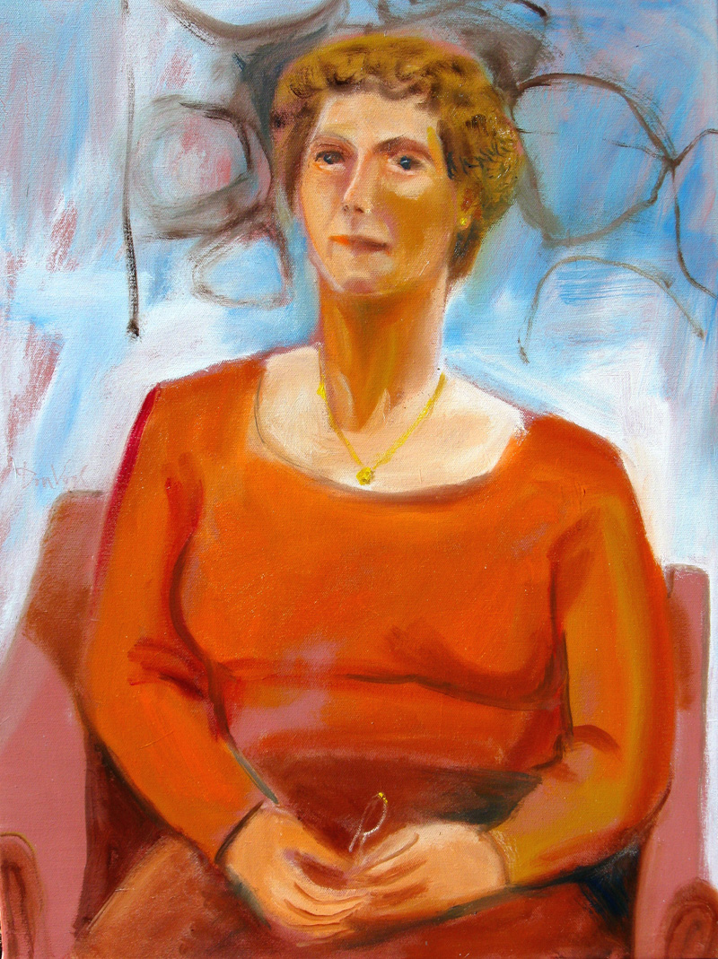 Woman (Orange) (Oil, portraits) - Fine Art by Donald G. Vogl, Fort Collins, Colorado