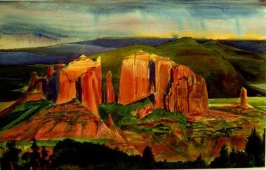 Cathedral Rocknear Sedona, Arizona (Watercolor, landscapes) - Fine Art by Donald G. Vogl, Fort Collins, Colorado