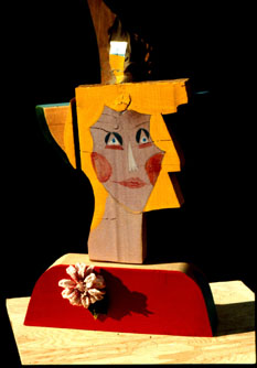Corsage (Wood, collages portraits) - Fine Art by Donald G. Vogl, Fort Collins, Colorado