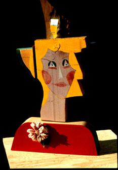 Corsage (Wood, collages portraits) - Fine Art by Donald G. Vogl, Fort Collins, Colorado