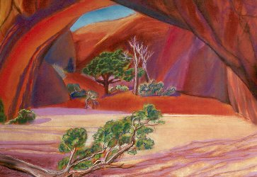 GrottoArches National Park, Utah (Pastel, landscapes) - Fine Art by Donald G. Vogl, Fort Collins, Colorado