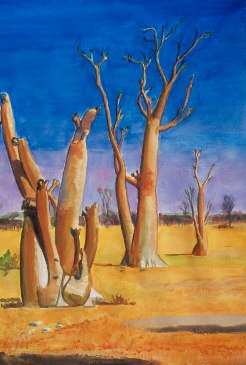 Moringa TreesEtosha National Park, Namibia (Watercolor, landscapes) - Fine Art by Donald G. Vogl, Fort Collins, Colorado