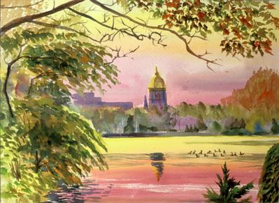 Sunrise at Notre DameNotre Dame, Indiana (Lithograph reprint of watercolor, landscapes) - Fine Art by Donald G. Vogl, Fort Collins, Colorado