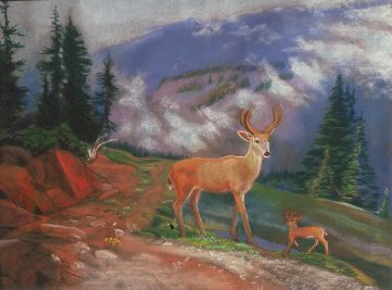 Olympic Deer (Pastel, figures animals) - Fine Art by Donald G. Vogl, Fort Collins, Colorado