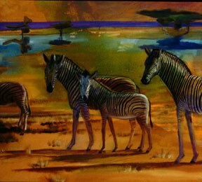 Zebras (detail)Etosha National Park, Namibia (Acrylic, figures animals) - Fine Art by Donald G. Vogl, Fort Collins, Colorado